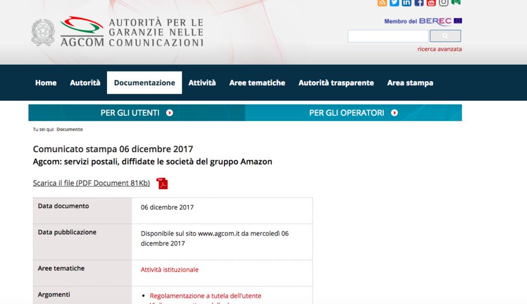Botta e risposta via tweet sul caso Agcom vs. società di AmazonItalia